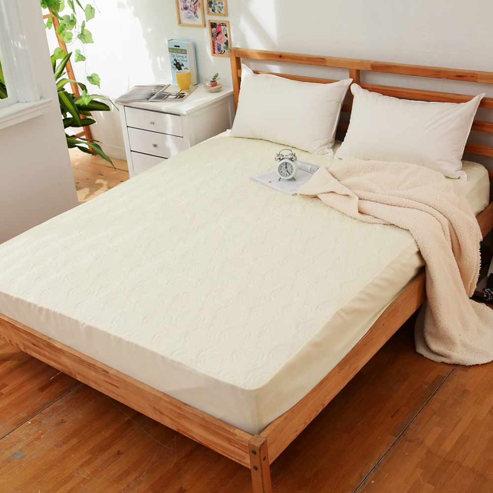 JOY 花紋床包式專利雙人防水保潔墊-香檳金