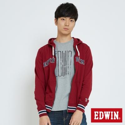 EDWIN 復古運動連帽拉T-男-朱紅色