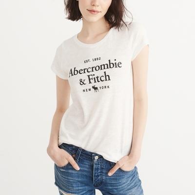 A&F 經典貼字文字麋鹿短袖T恤(女)-白色 AF Abercrombie