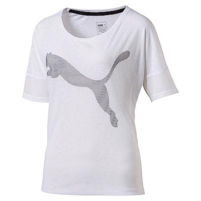 PUMA-女性訓練系列寬版短袖T恤-白色-歐規
