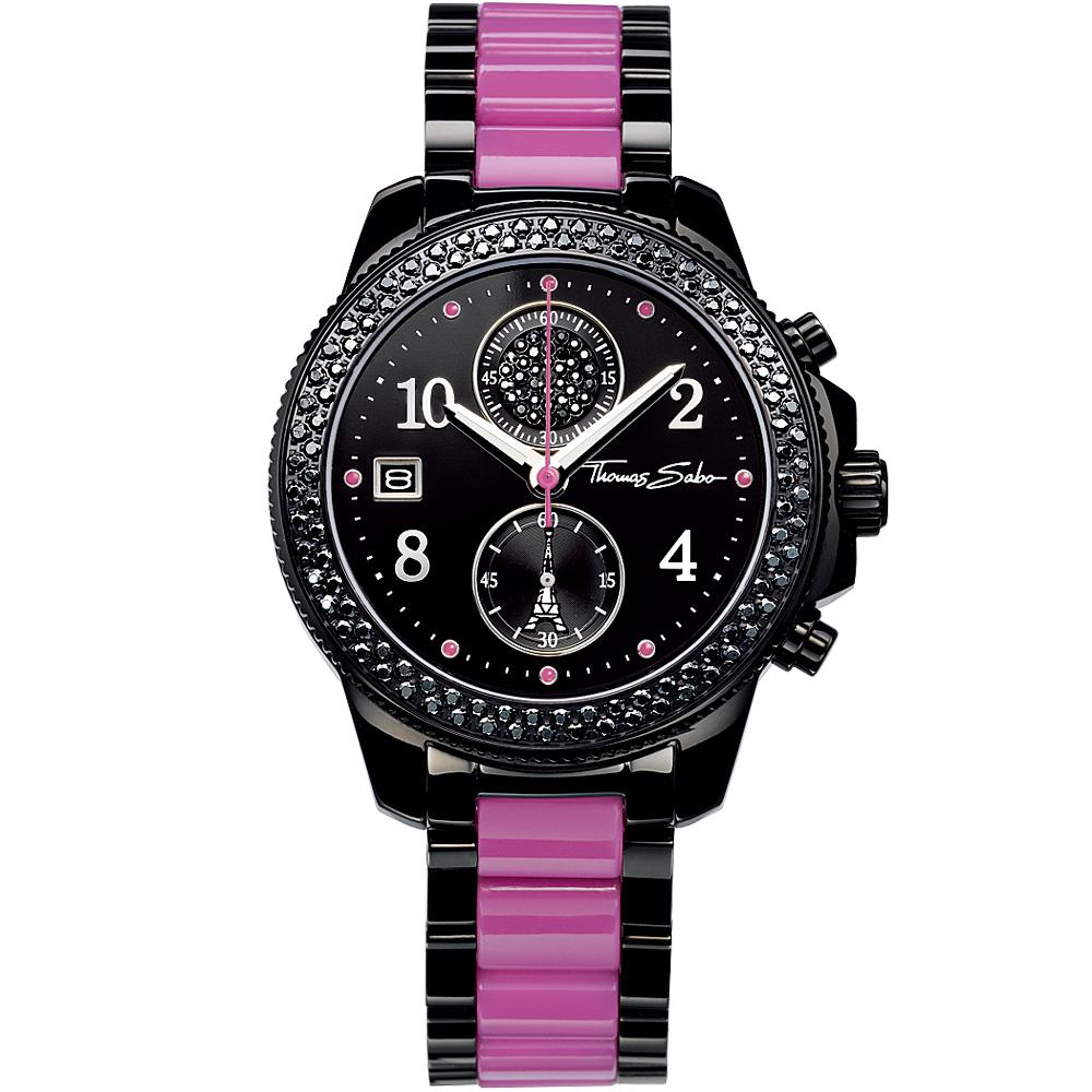 Thomas Sabo It Girl 艾菲爾鐵塔計時玻麗腕錶-黑x紫/38mm
