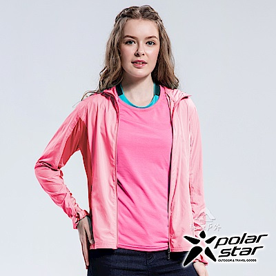 PolarStar 女 休閒抗UV連帽外套 防曬遮陽『淺粉紅』P18110