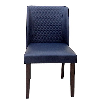 AT HOME-日系簡約胡桃深藍皮餐椅(48*60*82cm)