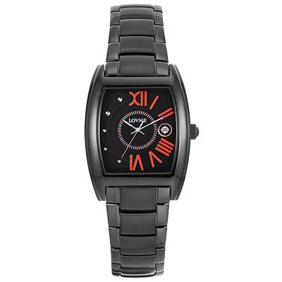 LOVME 月影星辰時尚腕錶-IP黑x亮麗橘刻度/ 26 mm
