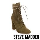 STEVE MADDEN-ELLEY-OLIVE 綁帶粗高跟短靴-墨綠