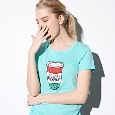CACO-美人魚咖啡杯短T(兩色)-女