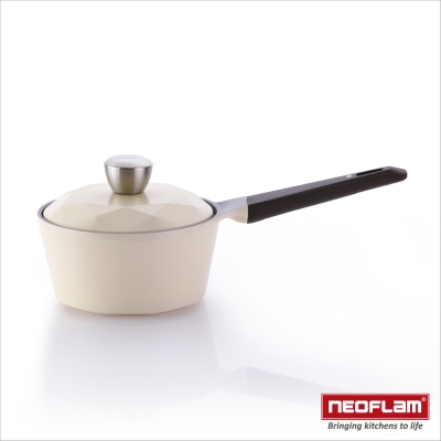 韓國NEOFLAM Carat系列 18cm陶瓷不沾單柄湯鍋+陶瓷塗層蓋(鑽石鍋)