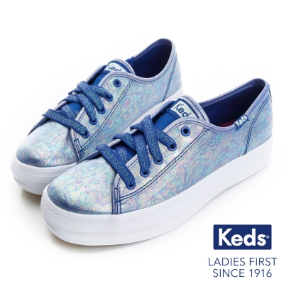 Keds 繽紛彩虹厚底綁帶休閒鞋(For Kids)-藍色