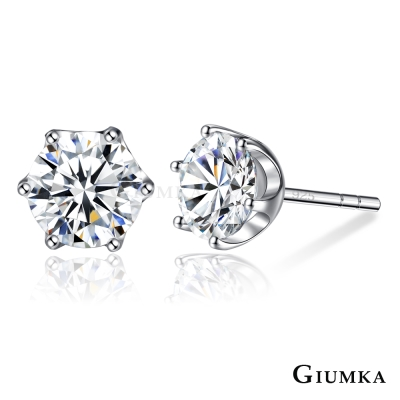 GIUMKA 925純銀耳環女針式 時尚晶鑽-銀色