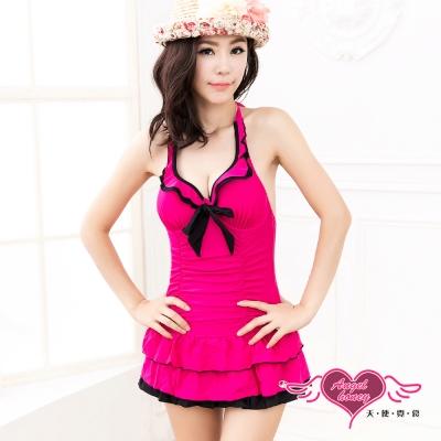 泳衣 時尚亮采 一件式連身泳衣(桃M~XL) AngelHoney天使霓裳