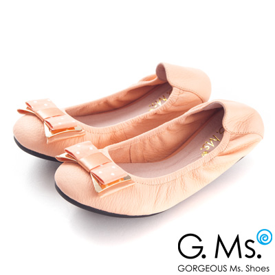 G.Ms.  輕旅行-水玉點點布金屬蝴蝶結折疊旅行鞋-沁甜粉
