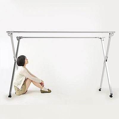 不鏽鋼附輪2米專利重力鎖X型雙桿伸縮曬衣架