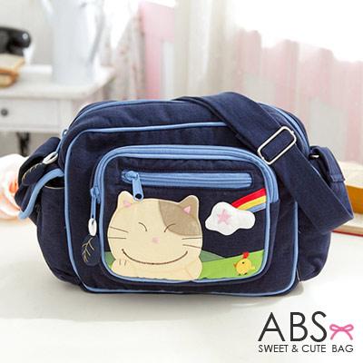 ABS貝斯貓 可愛貓咪拼布肩背包/斜背包88-167 -  海洋藍