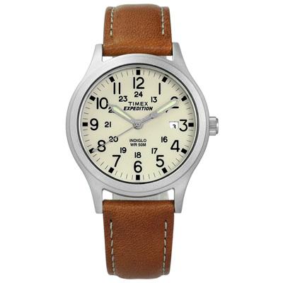 TIMEX 天美時 美國指標專利照明復古簡約日期真皮手錶-米白x卡其/36mm