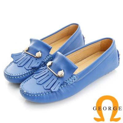 GEORGE 喬治-舒適系列 縫線包仔鞋 牛皮流蘇鉚釘休閒鞋(女)-藍色