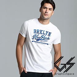 美式橄欖球運動風磨毛水洗T恤 (白色)-GraphicSpace