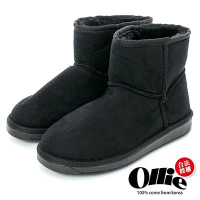 Ollie韓國空運-正韓製經典款布標平底短筒雪靴-黑