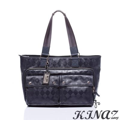 KINAZ-navy-大方托特包-湛藍-復刻菱格哲學系列-特賣品