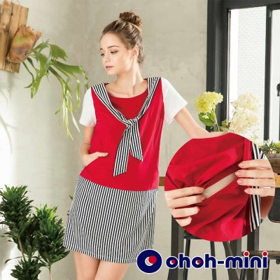 【ohoh-mini 孕婦裝】條紋領巾綁帶連身孕哺洋裝