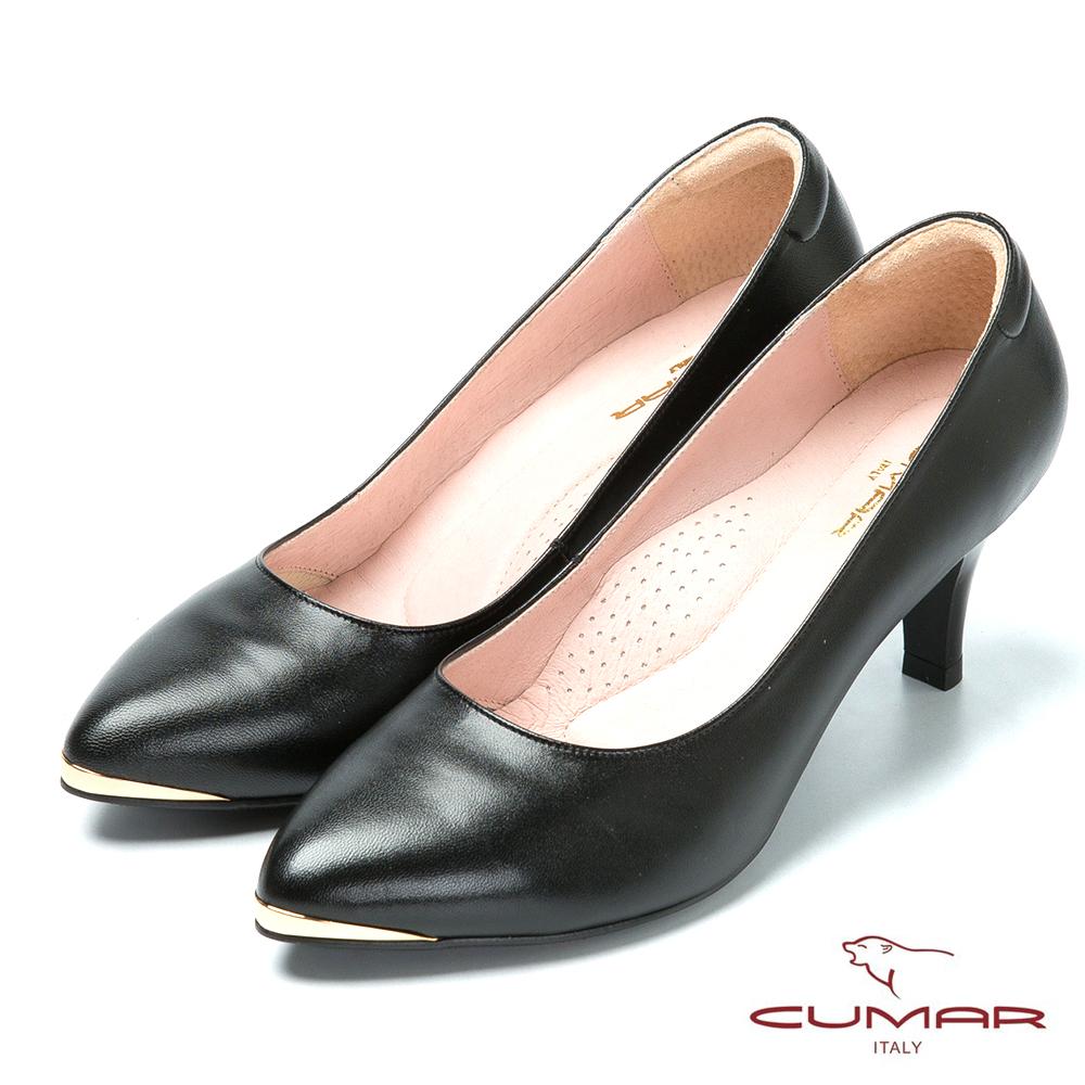 CUMAR優雅美型 簡約風格真皮高跟鞋-黑