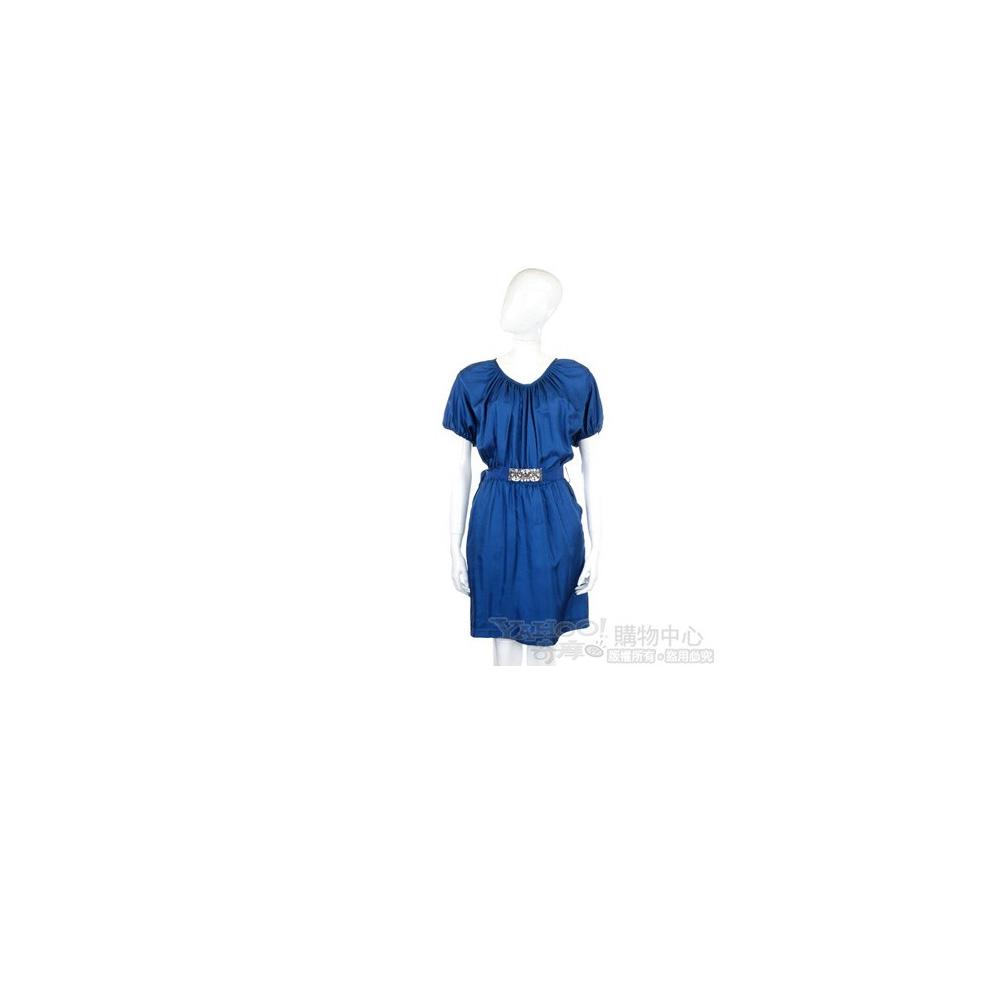 BLUGIRL 寶藍色寶石腰封飾公主袖洋裝
