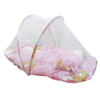 貝比-可愛熊寶寶涼夏舒適防蚊帳附小枕-粉色