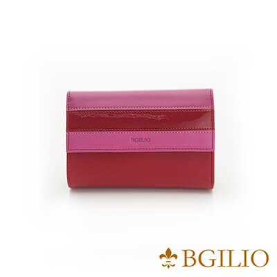 義大利Bgilio Nappa軟牛皮獨特配色釦式短夾-紅色-1942.306A-01