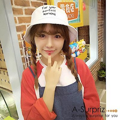 A-Surpriz 韓風英文字母漁夫帽(白)