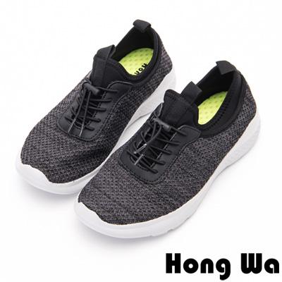 Hong Wa - 通勤OL綁帶休閒運動布鞋-黑