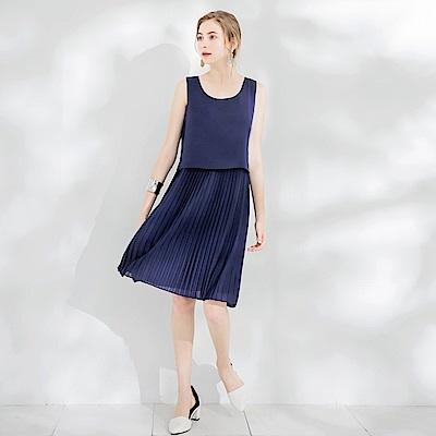 雪紡層次百褶造型無袖長洋裝.2色-OB大尺碼