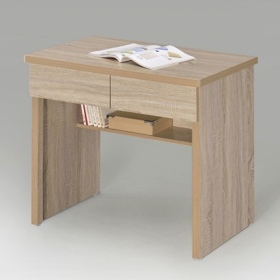 Homelike 簡約二抽書桌-橡木色-80x42x77cm