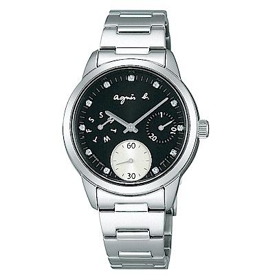 agnes b. 閃亮晶鑽時尚女錶(BP6001J1)-黑x銀/32mm