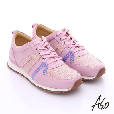 A.S.O 輕量抗震 牛皮拼接絨面金箔奈米綁帶休閒鞋 粉紅