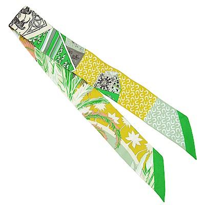 HERMES 馬蹄&叢林Twilly 絲巾(綠X黃)