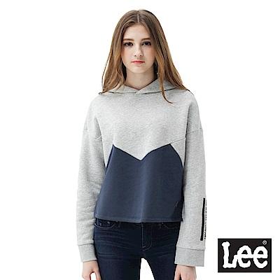 Lee 短版長袖LOGO帽TEE-女款-灰藍