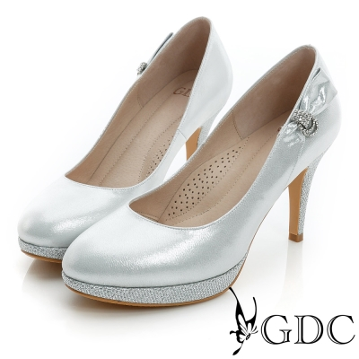 GDC幸福-側面水鑽蝴蝶結亮片真皮高跟鞋(婚鞋)-銀色