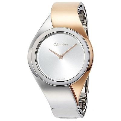 Calvin Klein 璀璨絕美玫瑰金手環式石英腕錶(K5N2S1Z)-銀色/34mm