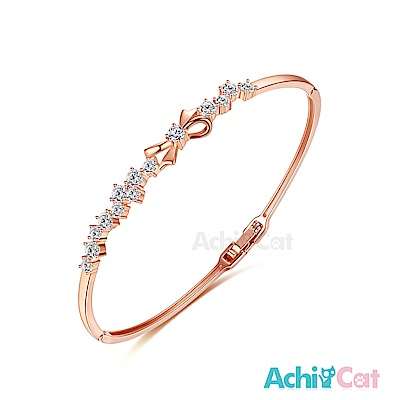 AchiCat 白K手環 甜美蝴蝶結 (玫金)