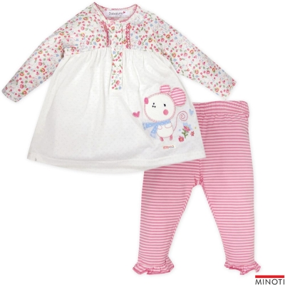 Minoti 英國 桃紅碎花拼接小老鼠長袖上衣長褲套裝2件組
