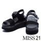 涼鞋 MISS 21 運動個性風牛皮拼接網布厚底涼鞋-黑 product thumbnail 1