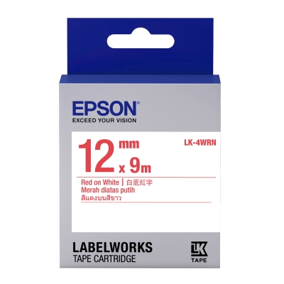 EPSON C53S654402 LK-4WRN一般系列白底紅字標籤帶(寬度12mm)