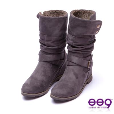 ee9 花漾年華交叉繫帶素面抓皺平底內增高中筒靴 灰色