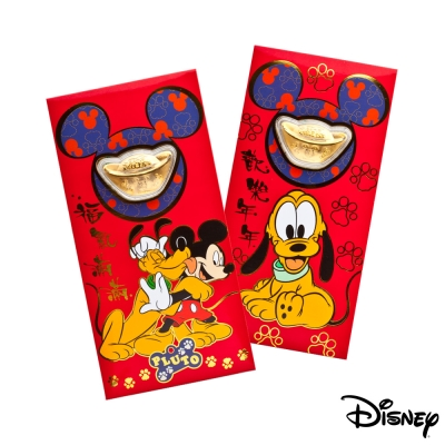 Disney迪士尼系列金飾-黃金元寶紅包袋-最佳拍檔+高飛來富款