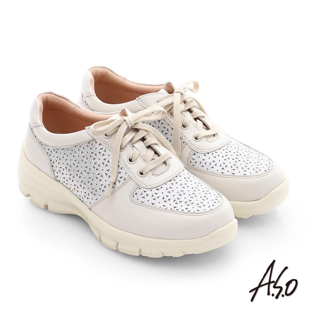 A.S.O 輕量抗震 真皮金箔網格健走鞋 米色