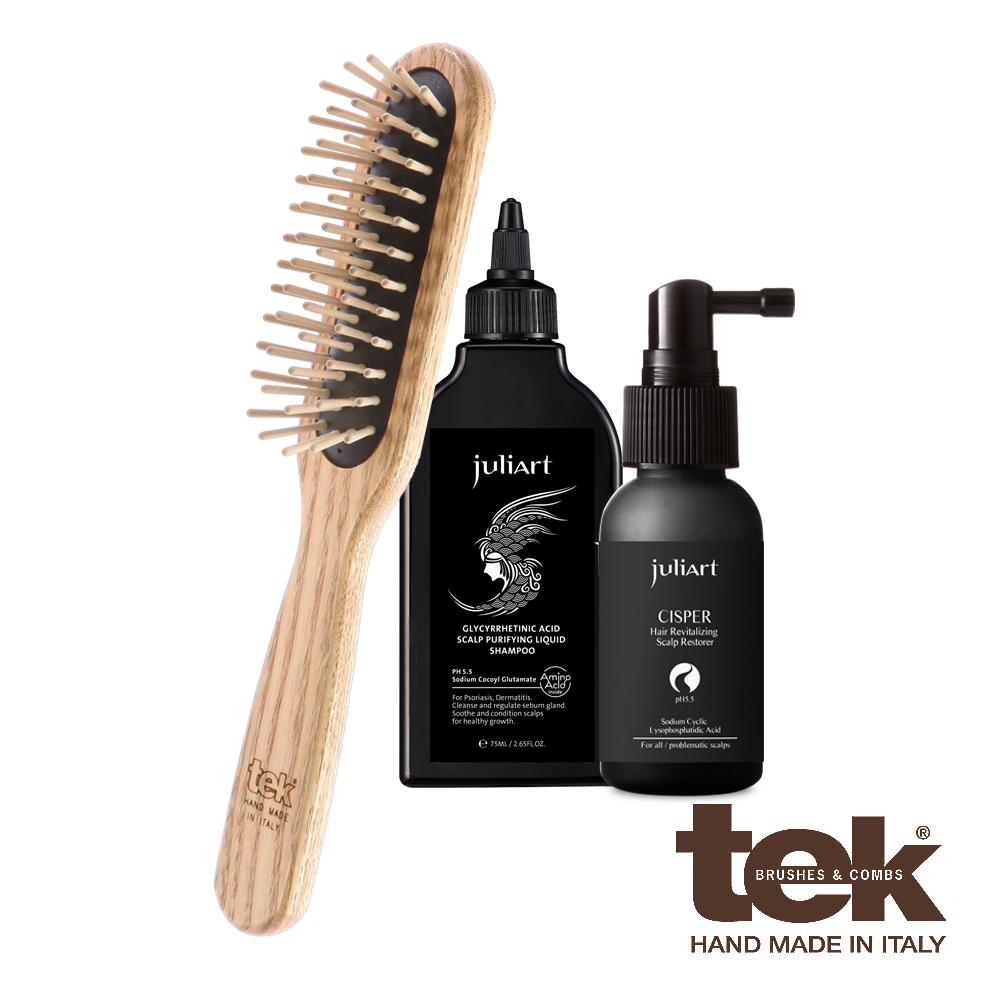 tek 長梳健康髮入門組(長梳  養髮液40ml 角質淨化液75ml)