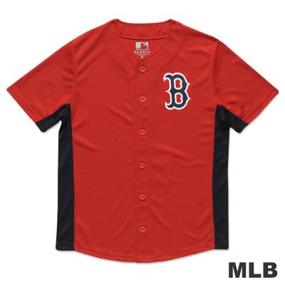 MLB-波士頓紅襪隊開襟印花快排球衣-紅(男)