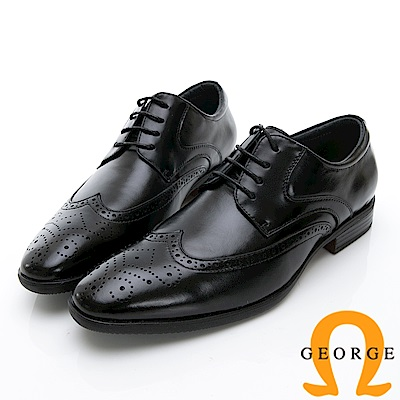 GEORGE 喬治-時尚職人系列 雕花綁帶牛津鞋紳士鞋 皮鞋 男鞋-黑