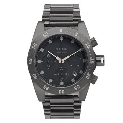 ELECTRIC DW01系列-經典潛水三眼計時腕錶-黑面x銀黑雙色鋼帶/44.5mm