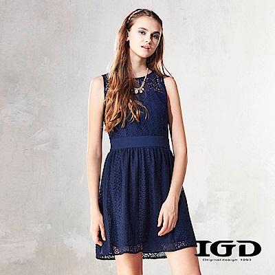 IGD英格麗  浪漫刺繡蕾絲鏤空洋裝-深藍