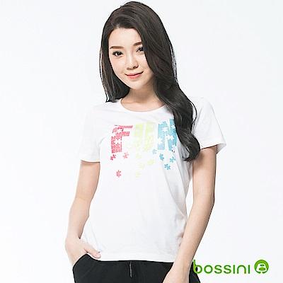 bossini女裝-印花短袖T恤13白